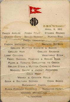 Titanic menu - Southampton City Council could add boiled eggs and buttermilk scones to our menu throw on some sweet potatoe slices and call it dunch. Titanic Sinking, Titanic Ship, Titanic Movie, Rms Titanic, Titanic Poster, Titanic Photos, Titanic Museum, Southampton City, Vintage Menu