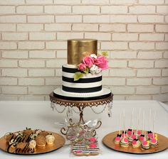 Kate spade inspired birthday cake and dessert table.  The cake was decorated in gold and white and black stripes along with pink roses. We also made matching cake pops, chocolate covered strawberries (Chocolate Party Table)