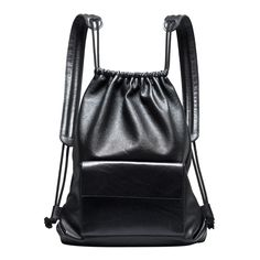 Black leather drawstring backpack | Architect's Fashion