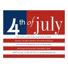 US Flag Fourth of July Party Invitation. An impression of the American flag says it all... it's an Independence Day bash! The graphic elements of the flag are shown on this invitation - just add your customized party information in the stripes. You can also add any extra information on the back.