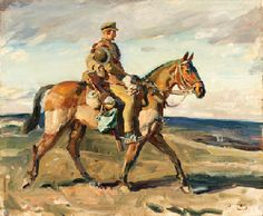 'Trooper in Full Marching Order' by Alfred James Munnings - WW1, Regiment unspecified.