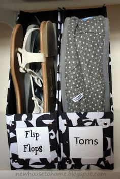 Use an old cereal box or magazine file box to store flip flops!  Great upcycle!