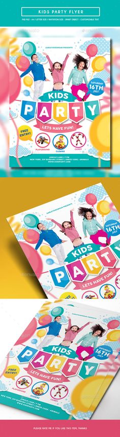 Kids Party Flyer / Invitation Template PSD. Download here: http://graphicriver.net/item/kids-party-flyer-invitation/16048937?ref=ksioks