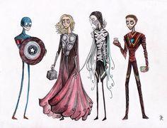 The Avengers drawn in Tim Burton style.