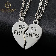 New collier choker necklace heart pendant pieces broken two best frien – Gifts Leads