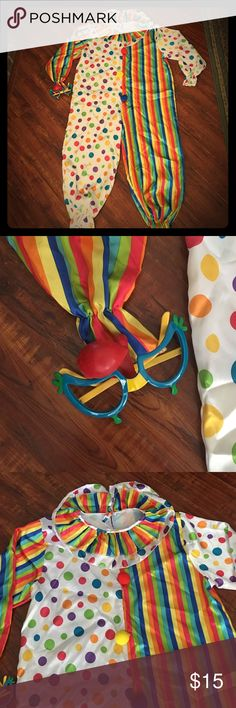 SALE!! 🎀COUTURE Clown Jumpsuit😂❤️ Couture clown theme jumpsuit with matching glasses and nose. Possibly made in France!! Clearance price firm unless bundled!! Couture Clown Pants Jumpsuits & Rompers