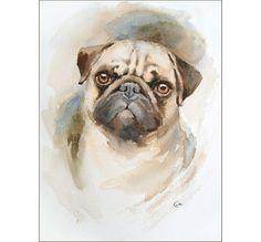 Watercolor Pug Portrait  Original Painting 9x12 by CMwatercolors
