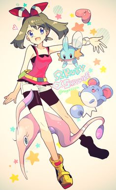 Omega Ruby and Alpha Sapphire May, Mudkip, luvdisc, marill, and gorebyss