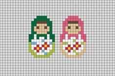 Matryoshka Doll Pixel Art Pixel Art Templates, Perler Bead Templates, Beading Patterns, Embroidery Patterns, Peyote Patterns, Cross Stitch Designs, Cross Stitch Patterns, Cross Stitching, Cross Stitch Embroidery