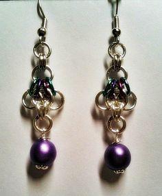 #124 --Butterfly design. Silver fill, violet, rose & teal niobium, violet 8mm swarovski matte pearls. *SOLD 2-28-13.