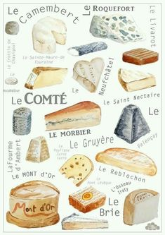 Reproduction of original painting done with watercolor on paper 300 g - cheeses of France Perfect gift for moms, grandmas or young women to deco… Fromage Cheese, Queso Cheese, Wine Cheese, Cheese Art, Cheese Shop, Cheese Lover, Charcuterie And Cheese Board, French Cheese, Cheese Platters