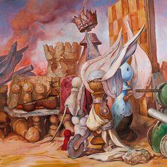 "Samuel Bak, Suspense, Oil on canvas, 30 x 30"""
