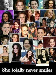 I hate when people say she never smiles. She smiles all the time. Just look! Kristen Stewart Fan, Kristen Stewart Twilight, Twilight Jokes, Twilight Cast, Kristen And Robert, Robert Pattinson Twilight, Celebs, Celebrities, Her Smile