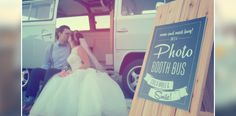 Bride and groom in front of Utah's volkswagen booth bus. Pricing available on photoboothbus.com