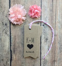 Wedding favor tags - rustic initials wedding tags with a heart - kraft brown paper tags - wedding favors. $12.00, via Etsy.