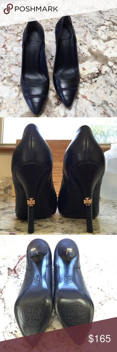 """Tory Burch Stiletto Heels Navy Blue Leather Stiletto Heels by Designer Tory Burch. Brand New, NEVER Worn, only tried on! Tory Burch Logo is in gold on the back of each heel. They measure 3.5"""" high.. Very flattering on foot, comfortable too! In Perfect condition. Tory Burch Shoes Heels"""