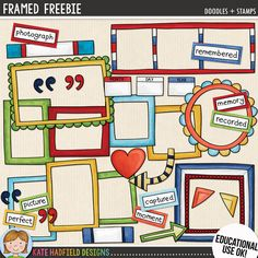 Framed Freebie - free digital scrapbooking frame elements | cute frame clipart! Contains coloured and black and line line art versions. Hand-drawn illustrations for digital scrapbooking, crafting and teaching resources from Kate Hadfield Designs!