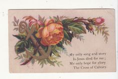 My Only Song and Story is Jesus Pink Rose Religious Victorian Card c1880s