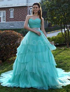 A-line Sweetheart Neck Tiered Organza Bride's Wedding Dress - Milanoo.com