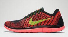 29033baae8c6a Nike Free 4 Flyknit Black Volt Hot Lava Crimson Multicolor 717075 006 Nike  Free Flyknit