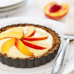 Peach Pastry Cream Tarts, with gingersnap crust and vanilla pastry cream