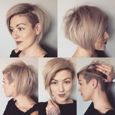 First time I've completely reshaped and cut my hair myself! Short Hair Undercut, Short Hair Cuts, Short Pixie, Bob Haircut With Undercut, Side Undercut, Undercut Styles, Asymmetrical Pixie, Pixie Cuts, Assymetrical Haircut
