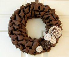 Burlap Wreath, Dark Brown Burlap Wreath, Wall Decor, Country Decor op Etsy, £30.15