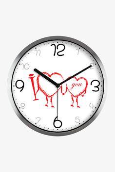 Fashion Art Wall Clock Romantic Love In Silver Satin