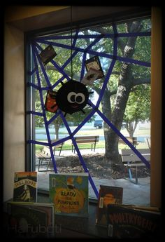 one of the actual halloween book displays before it got loaded with even more items - Halloween Display Ideas