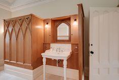 Interior design and refurbishment and restoration of a Georgian rectory Gothic Bathroom, Interior Architecture, Interior Design, Gothic House, Modern Artwork, Contemporary Interior, Restoration, Refurbishment, Georgian