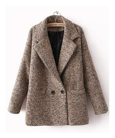 Coffee Women Cashmere Wool Blend Lapel Long Sleeve Slim Fitting One Size Fashion European Street Style Coat TBHTK901co : $41.70 with free shipping in Maxnina