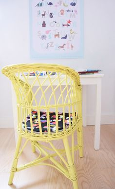 Yellow wicker chair for children