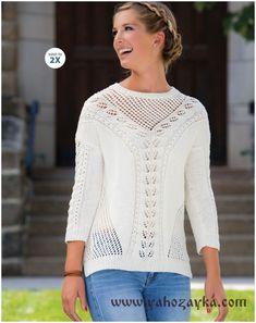 Белоснежный пуловер спицами с красивым узором. Вязаные женские свитера спицами с описанием