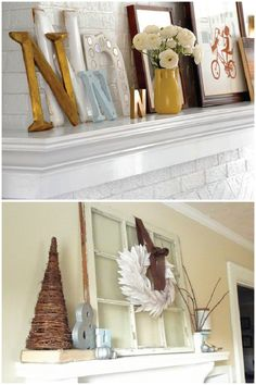 decor for fireplace mantel- like the splash of gold color in the vase