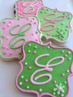 1 Dozen Sparkling Monogrammed Cookies by SugaredHeartsBakery