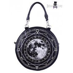 Dámská kulatá kabelka z umělé kůže s potiskem úplňku, geometrických tvarů a alchymistických symbolů.