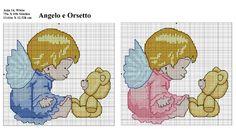 Schema punto croce con romatici angelo e orsetto, ideale pèer fiocchi nascita. 75w X 69h Punti, tela aida 14 13,61x12,52 cm. Realizzato in rosa ed azzurro.