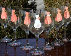 4 Personalized Bridesmaid Wine Glasses by SweetSouthernCompany, via Etsy.