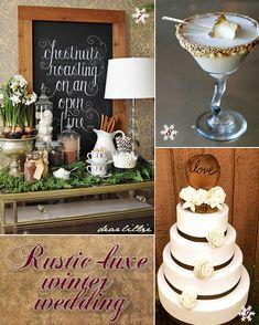 Rustic winter wedding ideas from wedding cake to snack bar.  #winterweddings #rusticweddings