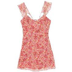 MANGO Floral ruffled dress ($40) ❤ liked on Polyvore featuring dresses, red ruffle dress, floral print chiffon dress, flutter-sleeve dress, layered chiffon dress and v neck dress