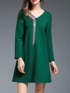 #AdoreWe #StyleWe Angel Eyes Green V Neck Long Sleeve Cotton-blend A-line Mini Dress - AdoreWe.com
