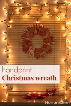 Christmas crafts. Handprint #Christmas wreath. BabyCentre Blog via @Nurturestore. Do this with each member of the families hand making it a 6 layer wreath, Sam in back, Elayna in the front