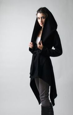 Black Coat with Raw Edges and a Hoodie / Asymmetrical Sweater Hoody / Oversize Designer Coat / Asymmetric Autumn Coat / marcellamoda - Sweater Coats, Sweater Hoodie, Sweaters, Wool Cardigan, Black Cardigan, Cardigans, Asymmetrical Sweater, Asymmetrical Design, Fashion Mode