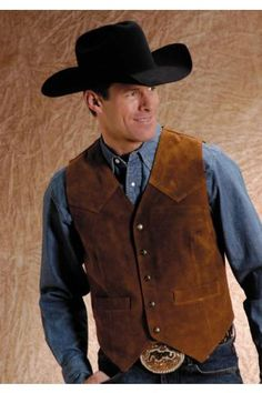 Men S Vests Brown Suede Vest With Front Yokes Roper