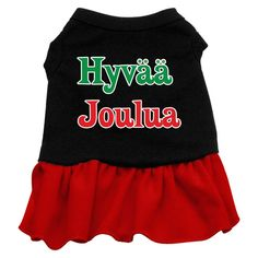 Hyvaa Joulua Screen Print Dress Black with Red XL (16)
