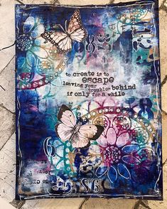 Art journal page in my new paper bag album. Tutorial and process video on my You. Art Journal Backgrounds, Art Journal Pages, Art Journals, Mixed Media Canvas, Mixed Media Art, Mix Media, Paper Bag Album, Paper Book, Art Journal Tutorial