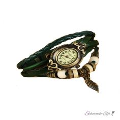 Leder Armbanduhr VINTAGE grün im Organza Beutel, 24,99 €