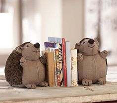 Hedgehog Bookends #PotteryBarnKids Seriously how cute are these guys?!