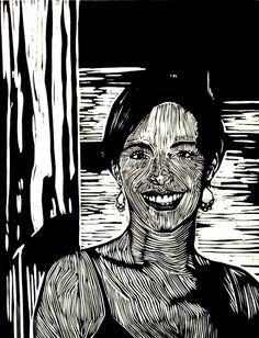 """The Smile"" linocut by Mark Rowden. http://www.wingedlionpress.com.au/ Tags: Woman, Female, Portrait, Face, Linocut, Cut, Print, Linoleum, Lino, Carving, Block, Woodcut, Helen Elstone."