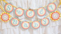 """Giraffe baby shower """"Sweet Baby"""" Boutique Banner.  Gender Neutral shower decoration. Coral / Aqua / Yellow. Fully assembled. by CharmingTouchParties on Etsy"""